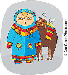 Man in winter clothes near a reindeer