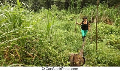 Woman In Rainforest