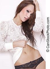 attractive brunette in beautiful black linen