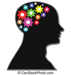 brain process gears with black color background