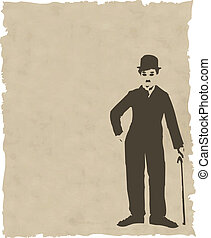 vector brown silhouette chaplin on old paper