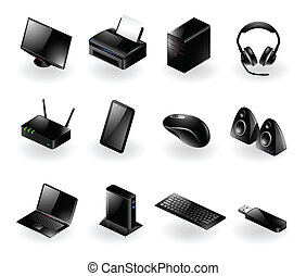 Mixed computer hardware icons - Vector set of various modern...