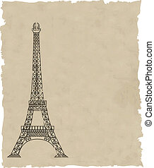 the vector eiffel tower on old paper
