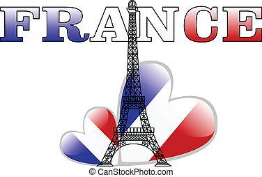 the vector eiffel tower and france flag heart
