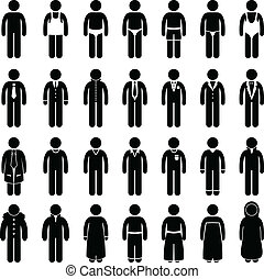 Man Wear Clothing Fashion Style - A set of pictogram showing...
