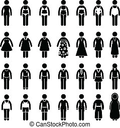 Woman Wear Clothing Fashion Style - A set of pictogram...