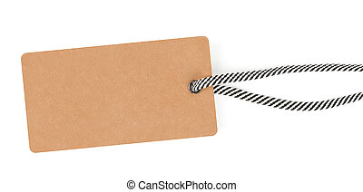 Blank tag tied with striped rope