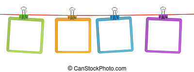 color frames on the rope with clothespins