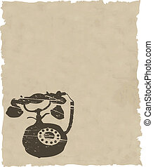 vector old phone on brown paper