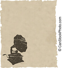 vector old gramophone on old paper