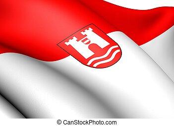 Flag of Linz, Austria. Close Up.
