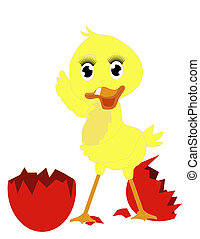 Happy new duckie - Clip art of a new born duckie, beside its...