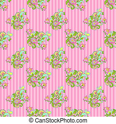 Seamless Floral on Pink Stripes - Bright jacobean style...