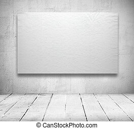 Blank banners in a old white room - Gallery Interior with...
