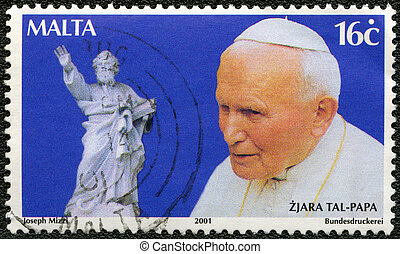 MALTA - CIRCA 2001: A stamp printed in Malta shows John Paul...