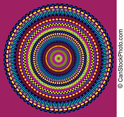Circular Ethnic Background - Mandala on dark red background