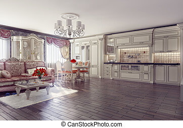 luxury interior - luxury kitchen interior in classic style...