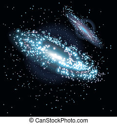 Two Galaxies at black starry background. Vector Illustration