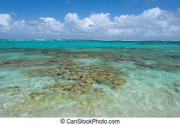Caribbean aqua waters and blue sky of the British Virgin...