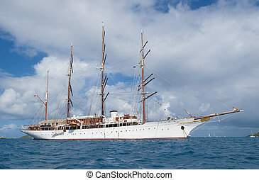 Large sailing ship - Large sailboat moving between islands...