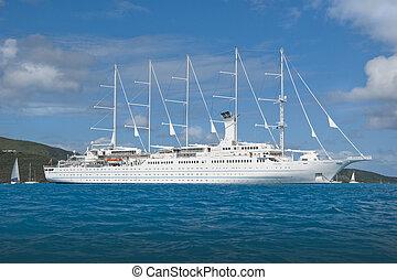 Large sailing cruise ship