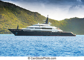 Luxury yacht at anchor in the caribbean BVI islands