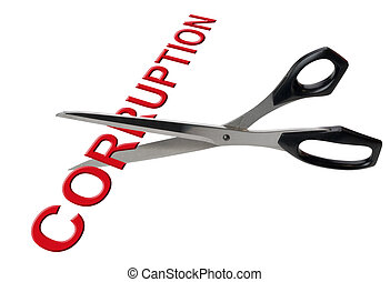 Cutting corruption, isolated - Scissors cutting the word...