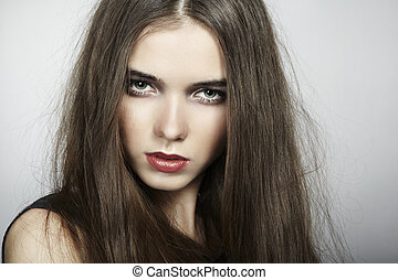 Fashion portrait of young beautiful woman. Close-up
