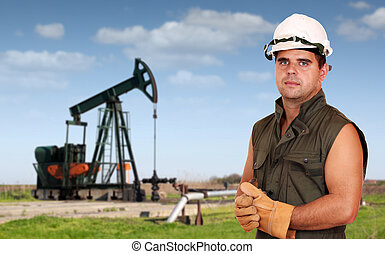 oil industry oil worker posing