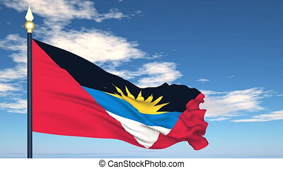 Flag Of Antigua and Barbuda on the background of the sky and...