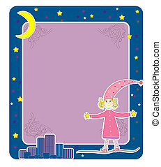 Girl in pajamas Card vector