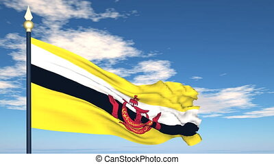 Flag Of Brunei on the background of the sky and flying...