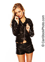 Demure young blonde in leather