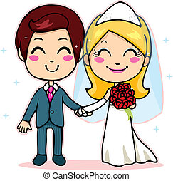 Married Couple Holding Hands - Cute married couple smiling...