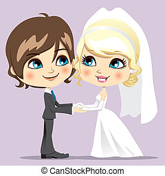 Sweet Wedding Day - Cute married couple smiling joyful...