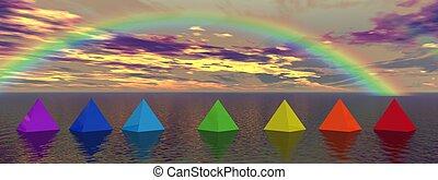 chakra landscape - rainbow and pyramids chakra