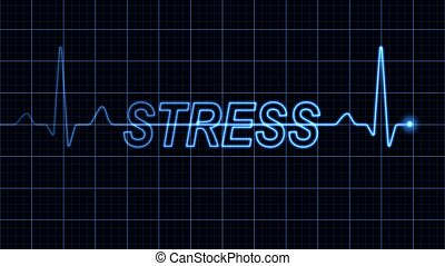 Electrocardiogram with Stress word - Blue electrocardiogram...