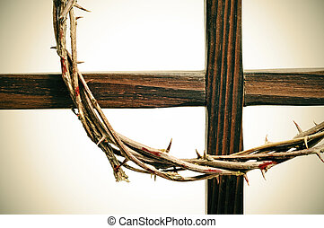 crown of thorns and cross - representation of the crown of...