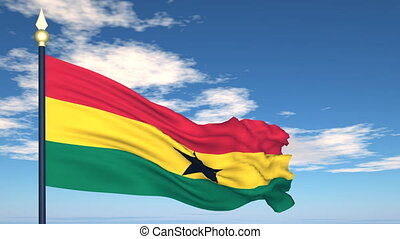 Flag Of Ghana on the background of the sky and flying clouds...