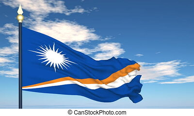 Flag Of Marshall Islands on the background of the sky and...