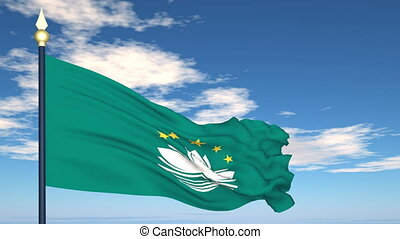 Flag Of Macau on the background of the sky and flying...