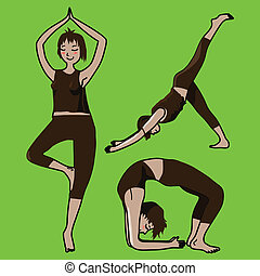 yoga girls in vector