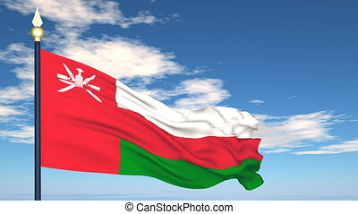 Flag Of Oman on the background of the sky and flying clouds.
