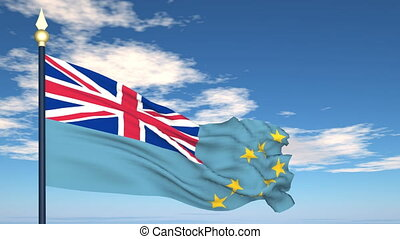 Flag Of Tuvalu on the background of the sky and flying...