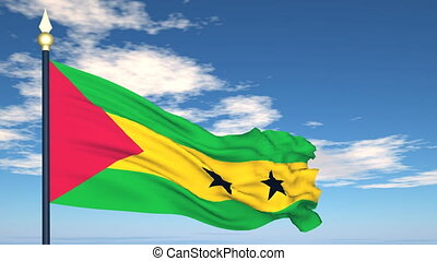 Flag Of Sao Tome and Principe on the background of the sky...