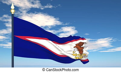 Flag Of American Samoa on the background of the sky and...