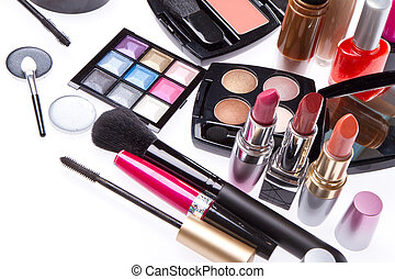 Conjunto, cosmético, Maquillaje, productos