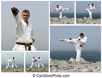 Karate fight collage Made of six photos