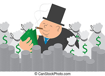 Money Man With Cash and Coins - Heavy man counting his...