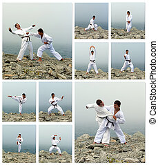 Karate fight collage. Made of ten photos.